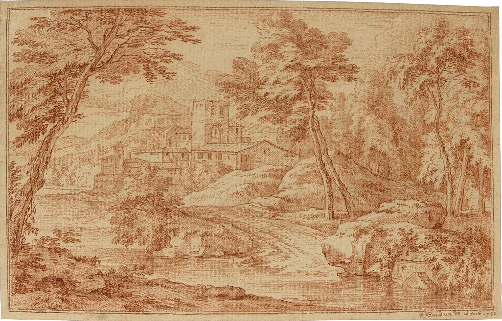 Wooded Italian landscapes with monasteries