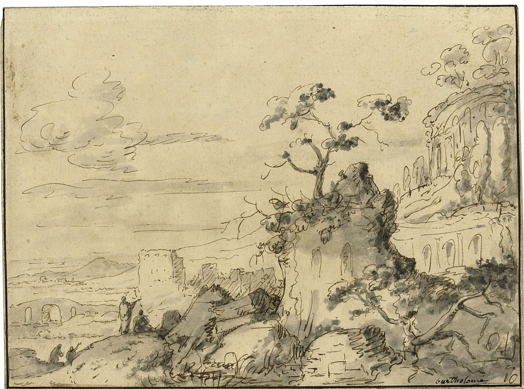 A wooded landscape with ruins