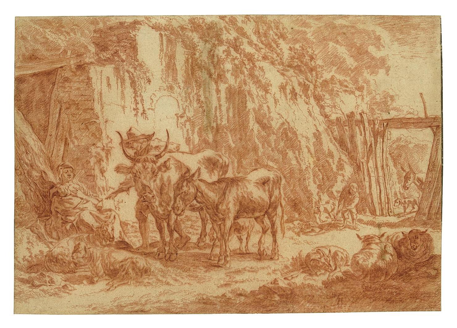 A farmyard with animals