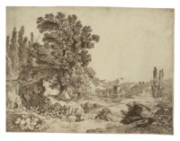 An Italianate wooded landscape with a villa set in a valley