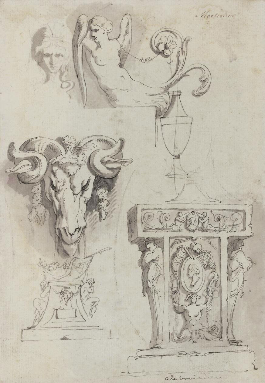 Ram's Head, Classical Pedastal and Winged Female Torso (recto); and Sketch for Scorpio (verso)
