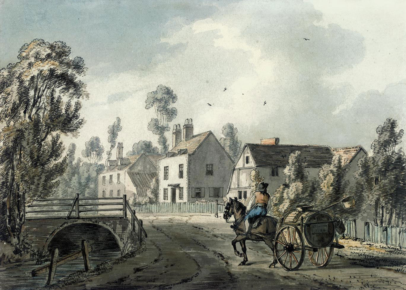 A horse-drawn cart arriving in a village