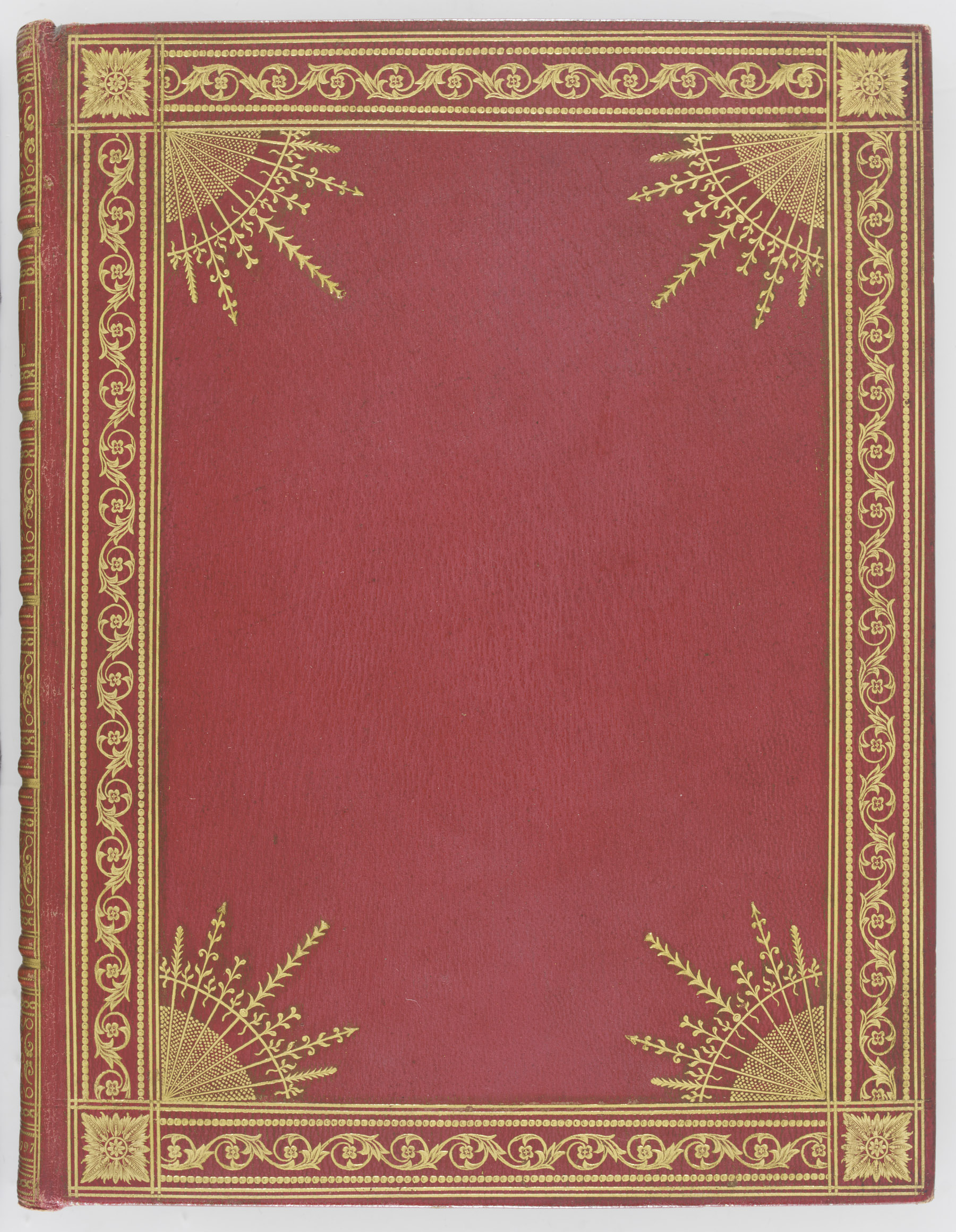 SEELEY, John. Stowe. A Description of the House and Gardens.  London: J. Edwards, 1797. 4° (245 x 185mm). Engraved title, 25 engraved plates, 6 engraved plans, one folding, double-page map. (Variable light spotting.) Contemporary red morocco by Christian Kalthoeber (with his orange label), covers with double gilt fillets and inner dotted roll bordering a repeated foliate scroll, star burst devices at corners, fan-shaped inner corner-pieces built up of various tools, gilt spine with double bands outlined with thick and thin gilt fillets, lettered in one panel, the others elaborately tooled, gilt turn-ins, marbled endpapers, gilded, silk marker (extremities faintly rubbed). Provenance: William Beckford (neat ms. note to verso of front endpaper, and printed catalogue entry on pastedown from the Hamilton Palace sale part III, Sotheby's 11 July 1883, lot 1876) -- Archibald Rosebery (book label; sold at Sotheby's 28 October 1975, lot 374).