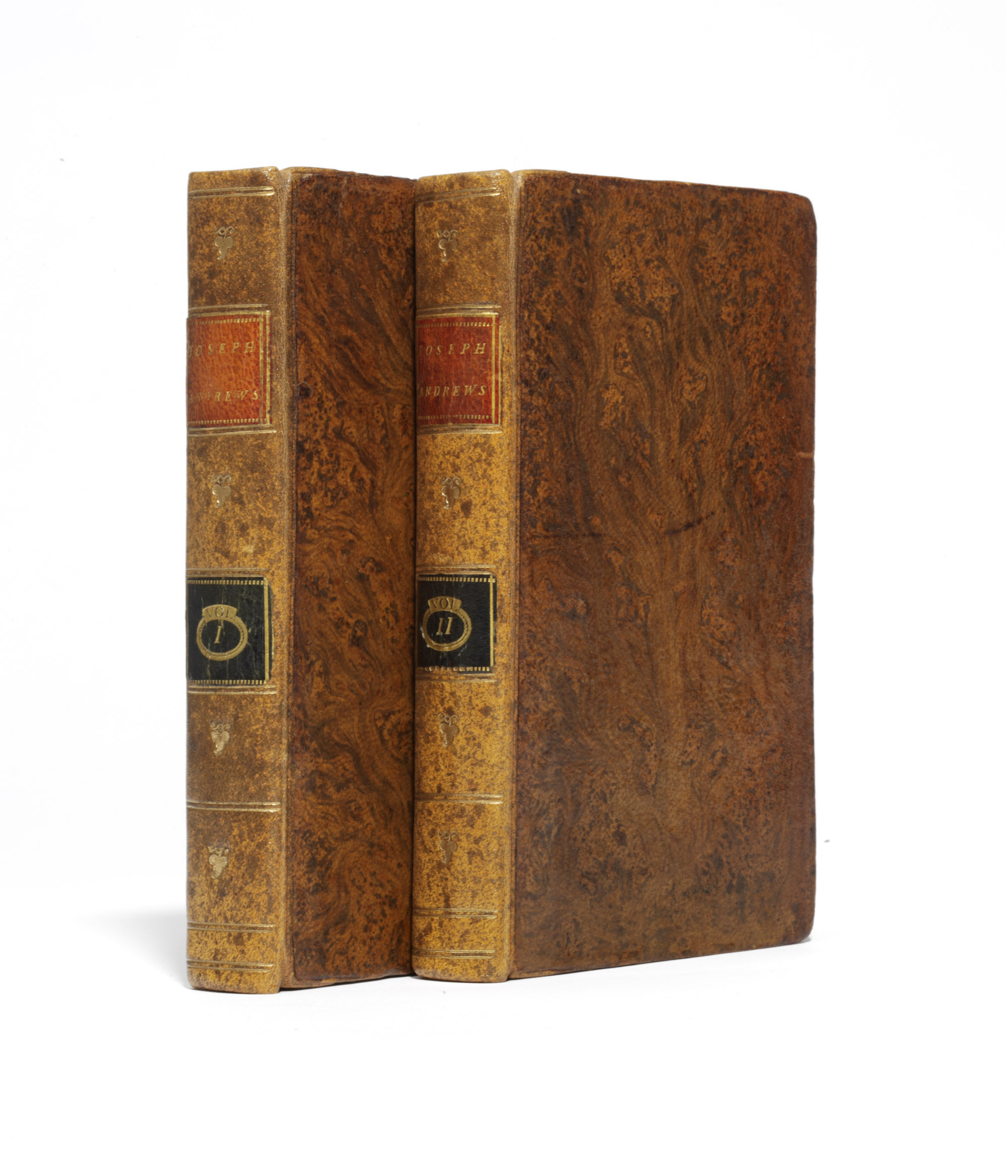 FIELDING, Henry (1707-1754). The History of the Adventures of Joseph Andrews. London: A. Millar, 1742. 2 vols., 12° (154 x 90mm). (Occasional light soiling, vol. II without preliminary advertisement leaf.) Contemporary tree sheep (rebacked, preserving old lettering-pieces, some neat repairs to covers). Provenance: 'Wm. Cooke after 1767' (partially erased inscription on title) -- J. Wyndham (1951 inscription on front endpapers).
