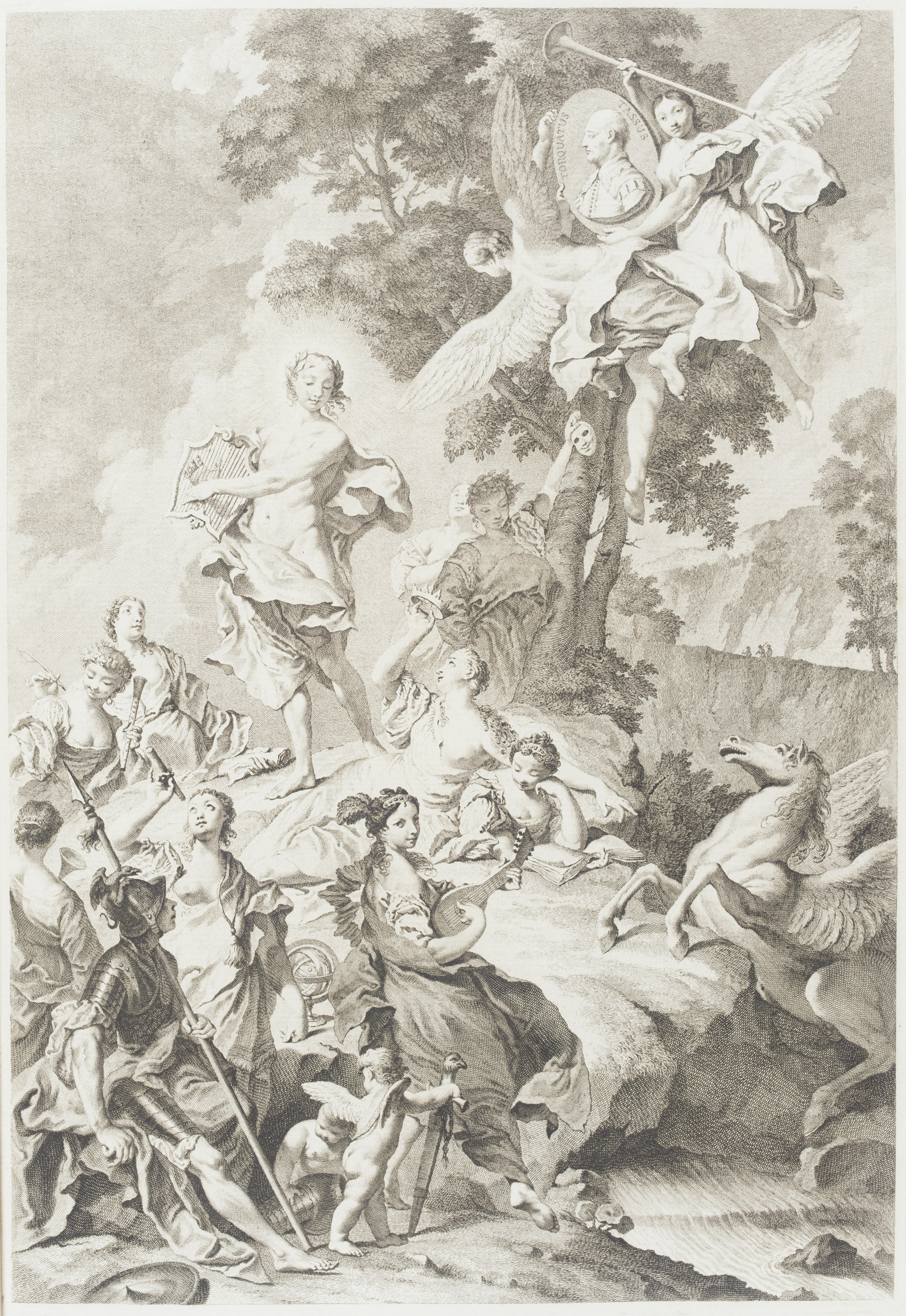 TASSO, Torquato (1544-95). La Gerusalemme Liberata. Venice: Giambattista Albrizzi, 1745. 2° (455 x 307mm). Half-title, engraved allegorical frontispiece, title printed in red and black, portrait of Maria Teresa, and 21 plates by Giambattista Piazzetta within one of two different styles of engraved border, engraved vignettes, one full-page. (Minor soiling on the half-title, light offsetting from a few plates). Contemporary mottled calf gilt (expertly rebacked preserving much of the original spine).