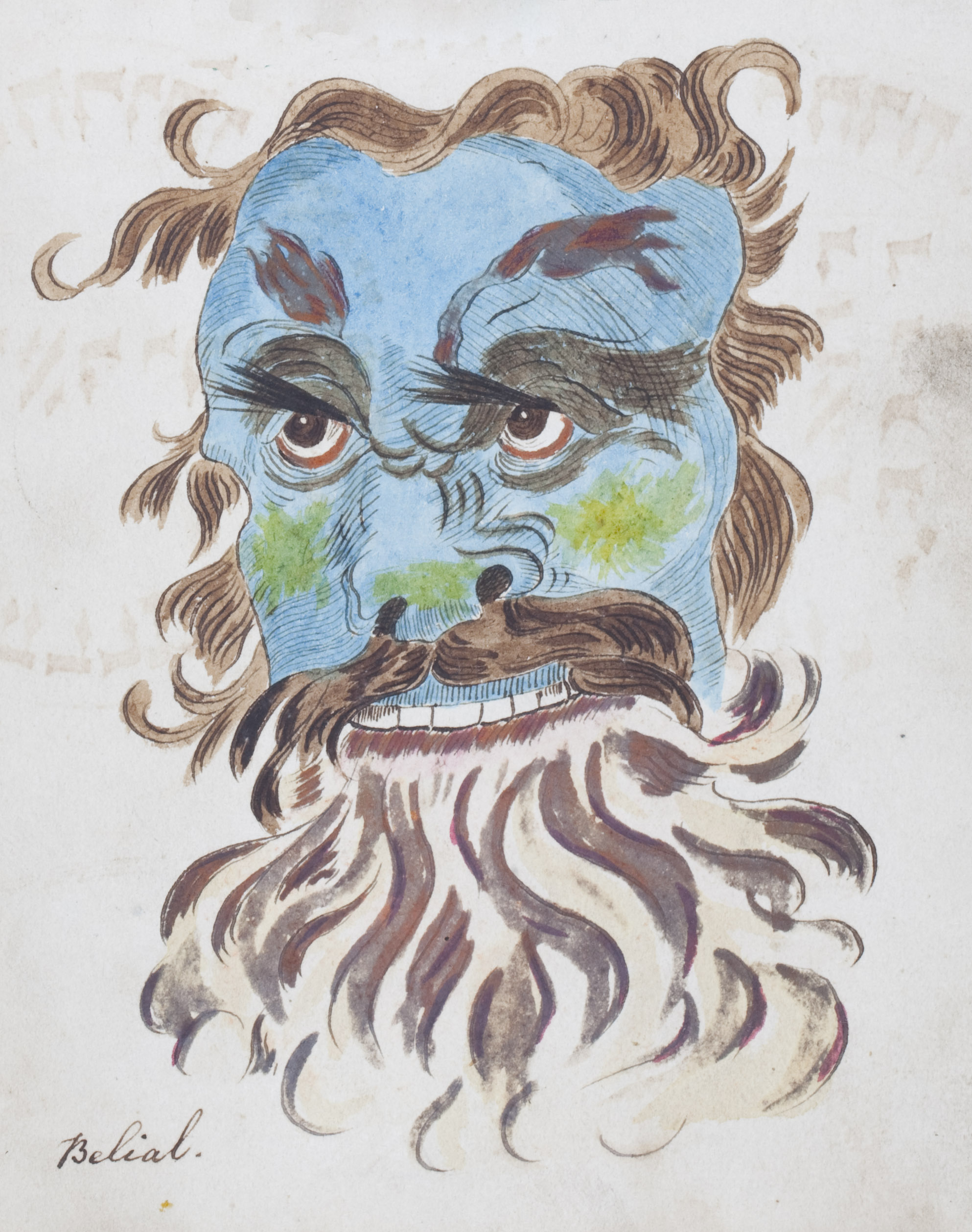 BARRETT, Francis (fl.1780-1814). The Magus, or Celestial Intelligencer; being A Complete System of Occult Philosophy, a manuscript copy of the first edition (published by Lackington, Allen and Co, London, 1801), including 14 drawings (10 coloured) of heads of demons etc, and a number of other figures, concluding with a related text, 'Illustrations of the Black Art', 413 pages, 4to (f.1 reattached), roan-backed boards (worn).