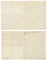 SADE, Donatien Alphonse François, Marquis de (1740-1814). Autograph letter signed ('Sade') to [his lawyer Gaspar-François-Xavier] Gaufridy, n.p. [Paris], 'ce vingt pluviose' [20 February 1796], drawing of a barrel of oil on the second page, 3½ pages 4to, bifolium.