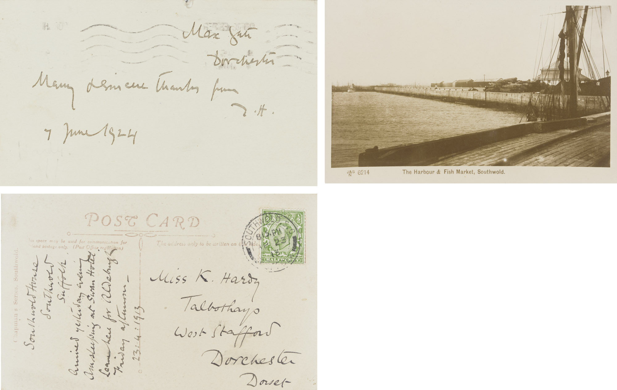 HARDY, Thomas (1840-1928). An autograph picture postcard (unsigned) and two autograph correspondence cards signed ('Thomas Hardy', 'T.H.') to various recipients, Dorchester and Southwold, 10 May 1892 - 7 June 1924, in the earliest apologising to Lady Metcalfe for not writing earlier about her invitation, writing from Southwold in 1913 to 'Miss K. Hardy' [his sister Kate] to inform her of his arrival, and in 1924 sending a brief line of thanks to Mr and Mrs Leonard Rees, together 3 pages, oblong 8vo, the picture postcard depicting the harbour and fish market in Southwold.	 (3)