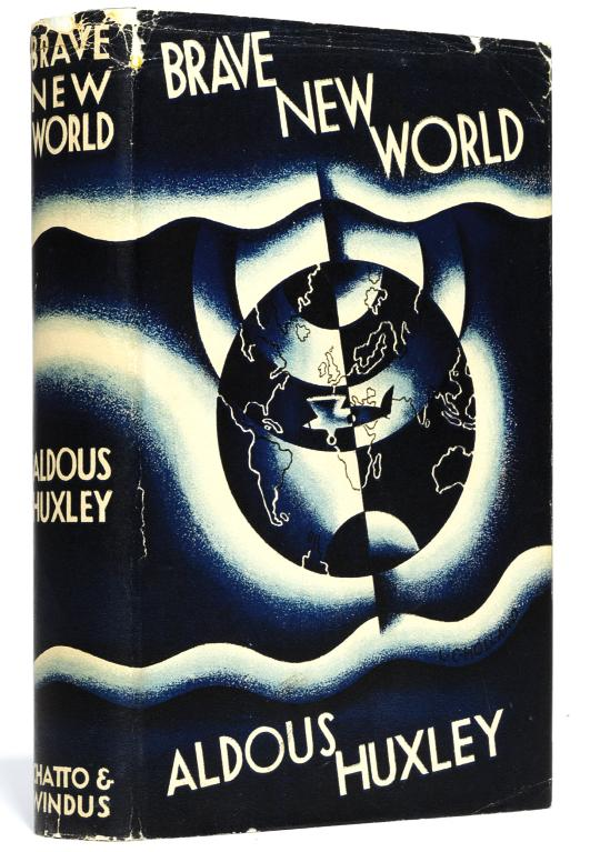 HUXLEY, Aldous (1894-1963).  Brave New World. London: Chatto and Windus, 1932. 8°, original blue cloth, gilt-lettered spine, top edge blue (one or two faint spots on spine), dust-jacket (loss at head of spine just affecting title lettering and adjoining areas of covers, smaller chips at corners and other extremities). FIRST TRADE EDITION. Connolly, The Modern Movement, 75.