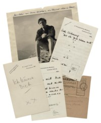 FLEMING, Ian (1908-1964). Series of 8 autograph love letters and notes signed ('Ian') to an Austrian girlfriend, Edith Morpurgo, 11 Throgmorton Avenue, St James's Club and n.p., 2 April 1935 and n.d., in German, in pencil and pen, one partially typescript, approximately 20 pages, 8vo and 4to (one letter torn to shreds and reassembled with adhesive tape), envelope, with a telegram, 7 December 1934 ('Regret this evening impossible goodbye with all my love Ian') and a portrait photograph of Fleming seated on a rock in the Austrian Alps, 1934 (rather worn).