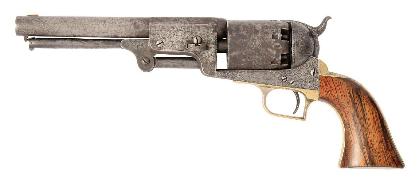 A RARE FACTORY ENGRAVED .44 HARTFORD-LONDON 'MODEL 1848' SIX-SHOT SINGLE-ACTION PERCUSSION DRAGOON REVOLVER
