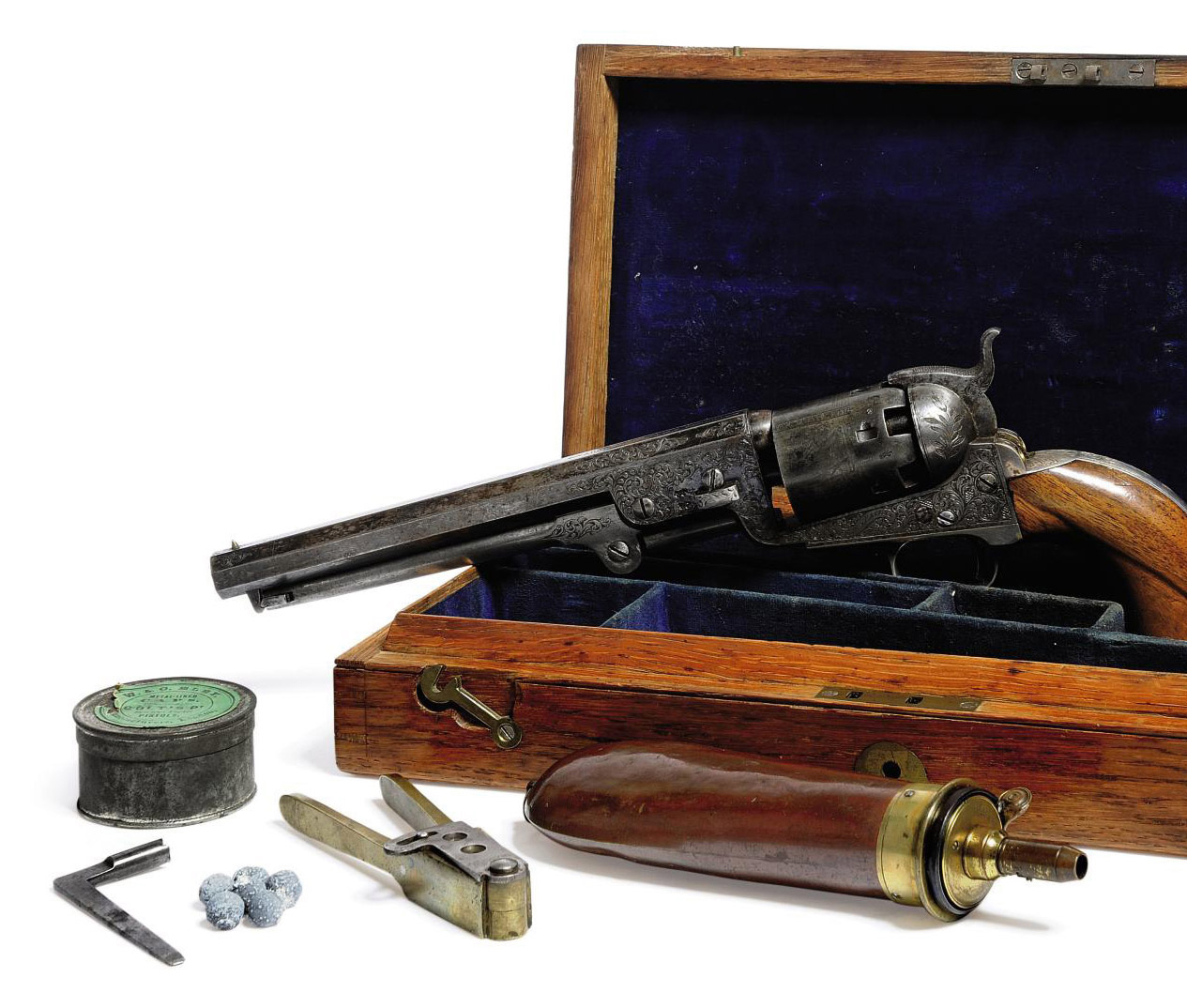 A CASED FACTORY ENGRAVED .36 'MODEL 1851' SIX-SHOT SINGLE-ACTION PERCUSSION NAVY REVOLVER