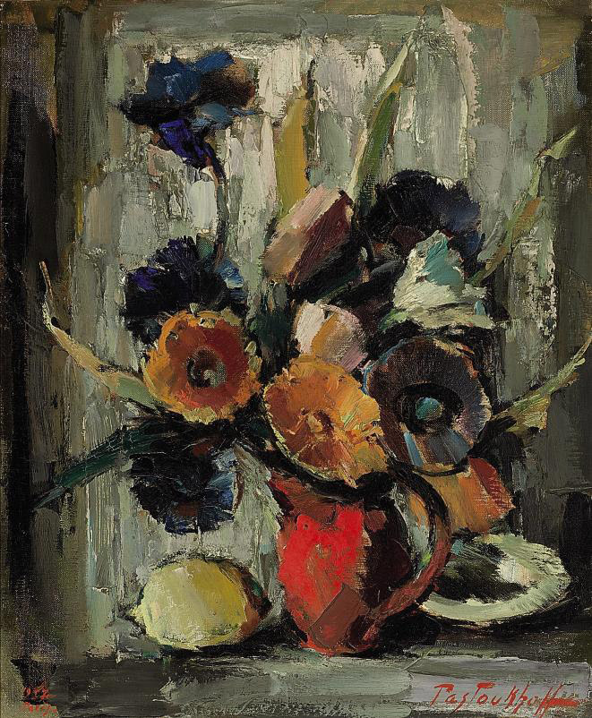 Still life with flowers and a lemon