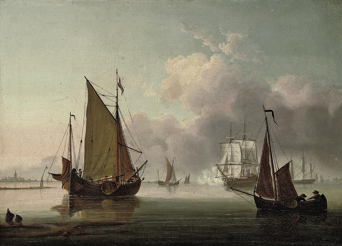 A two-decker firing a morning gun amidst other shipping in the Thames estuary
