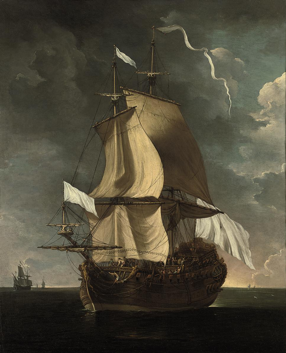 A French man-o'war heaving-to at sea