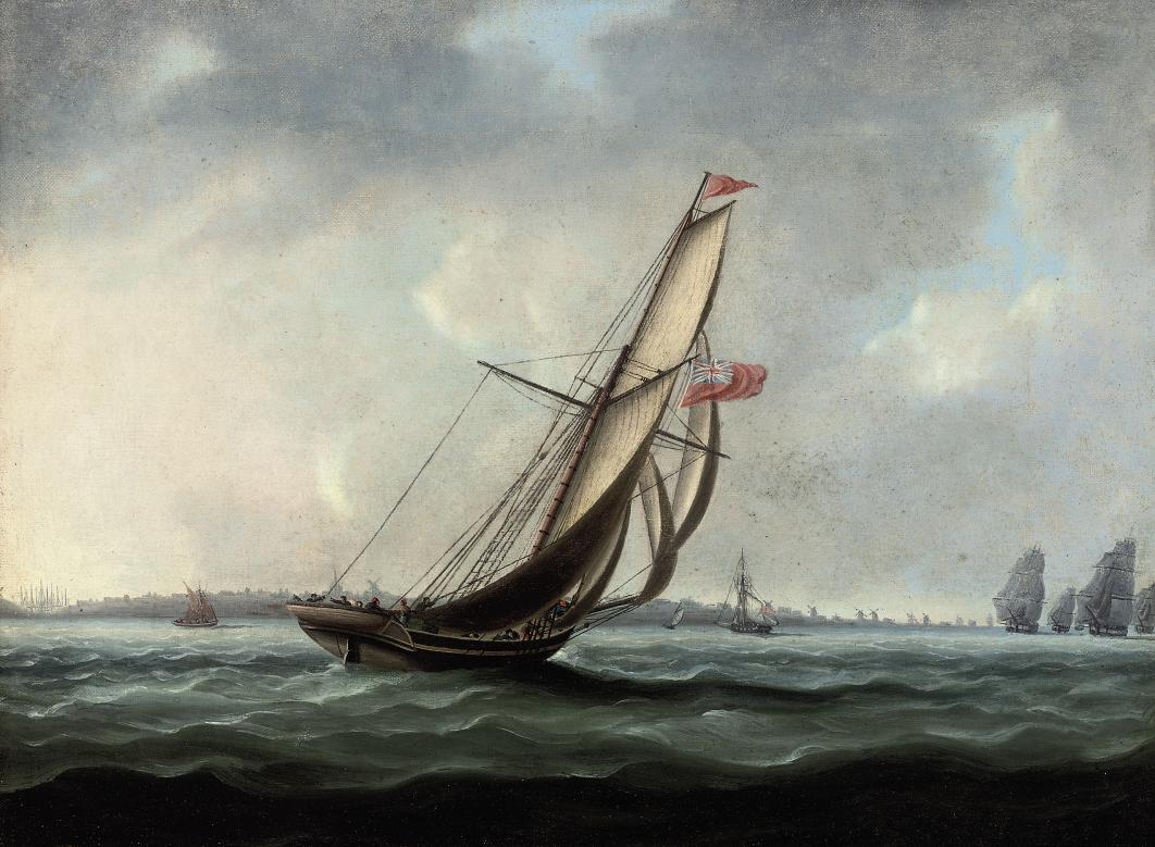 A Royal Naval cutter heading towards the British fleet