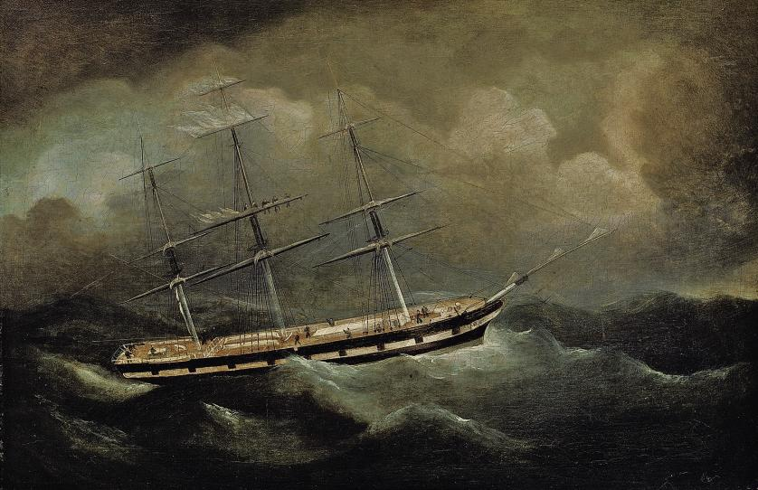 A merchantman riding out a gale