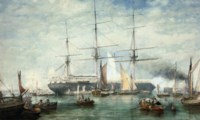An emigrant ship preparing to depart, her decks crowded with passengers and with onlookers to see her off