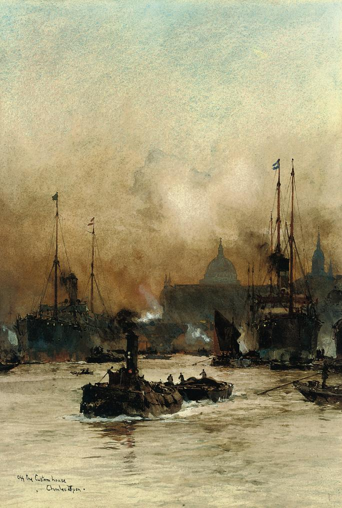 Bustling activity on the Thames before the Customs House