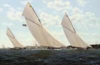 Vigilant and Britannia powering to windward off the Royal Yacht Squadron