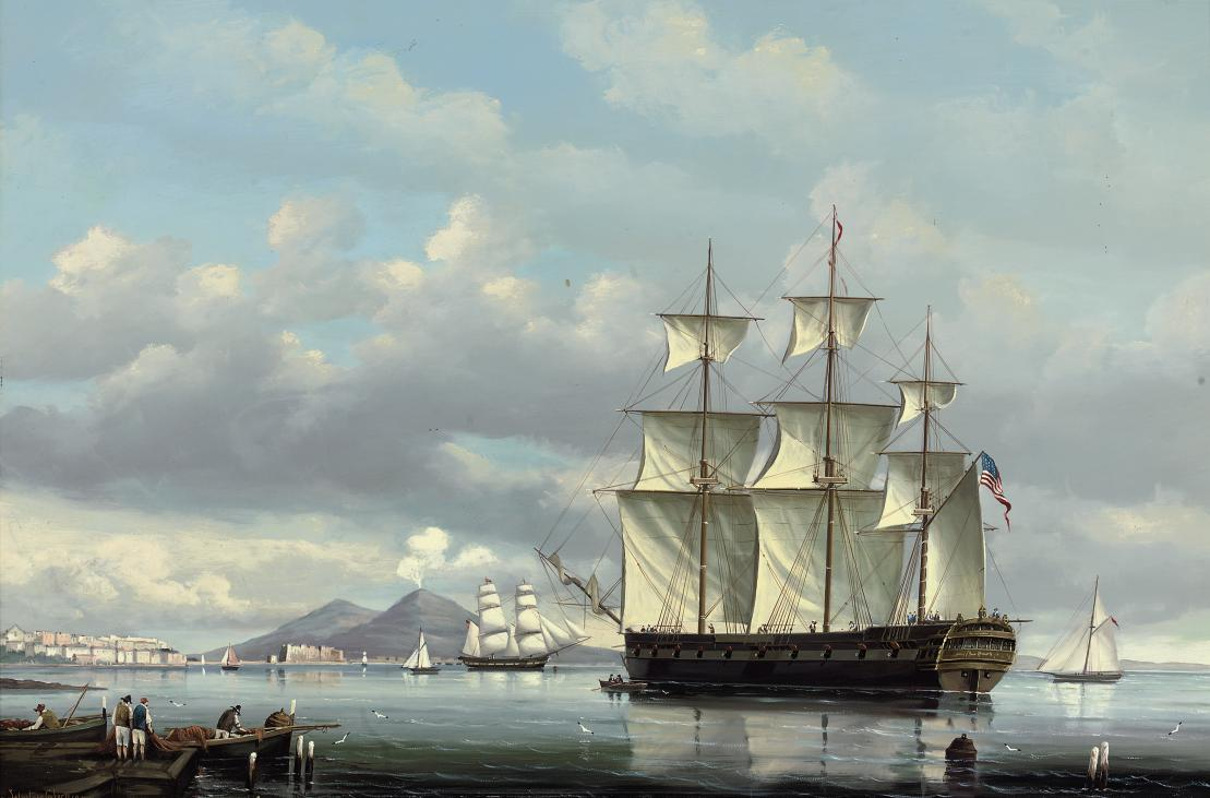 The American ships Ontario and Liberty both depicted off Naples (one illustrated)