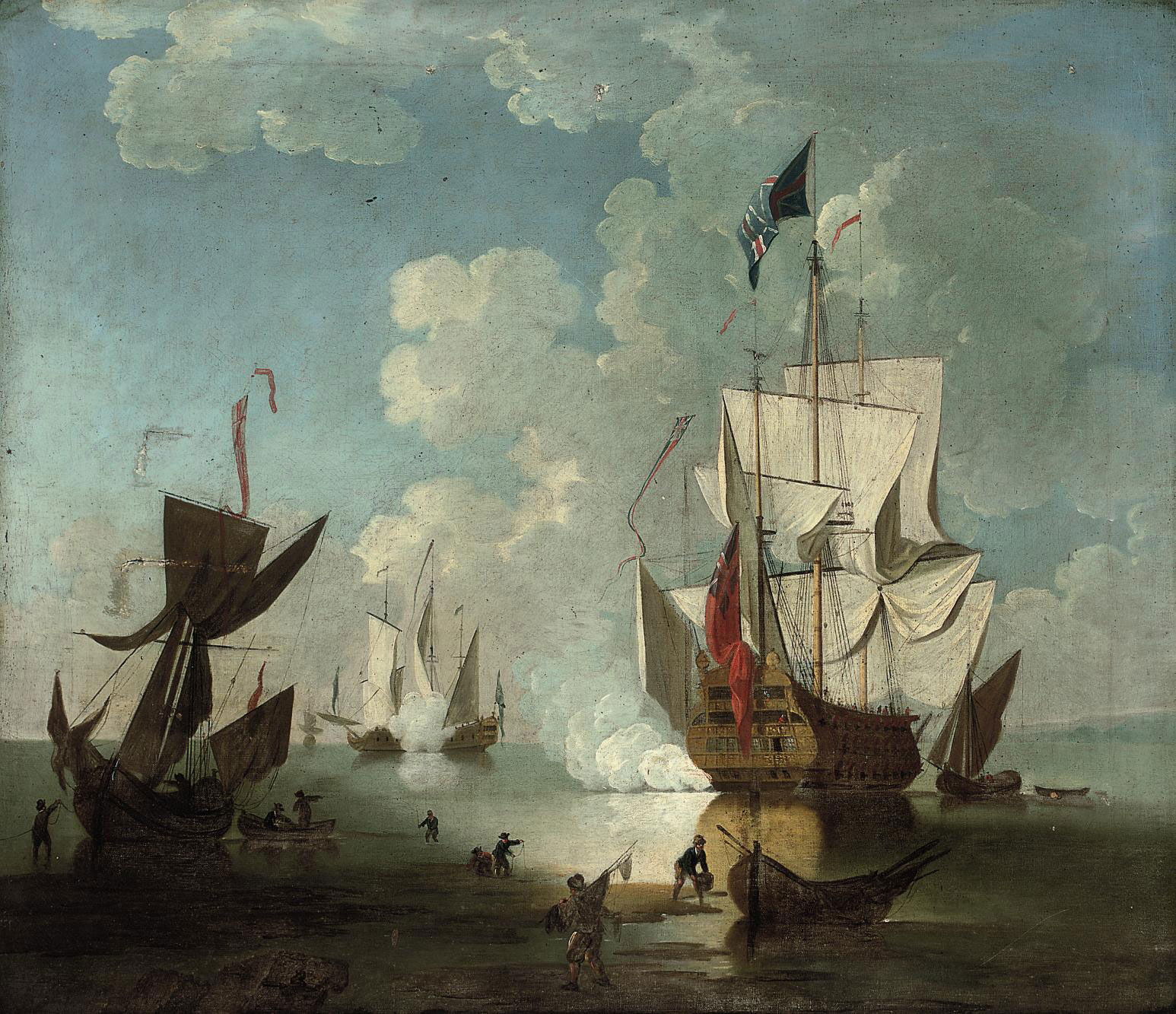 Stern quarter view of the Royal Sovereign saluting in the Nore