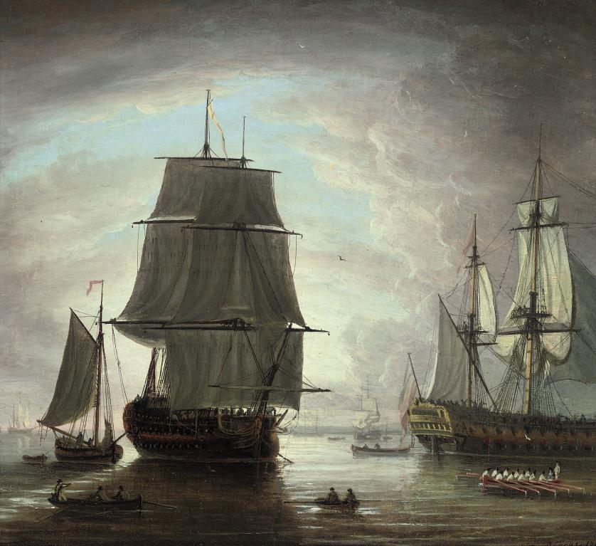 Men-o'war at anchor off Portsmouth at dusk