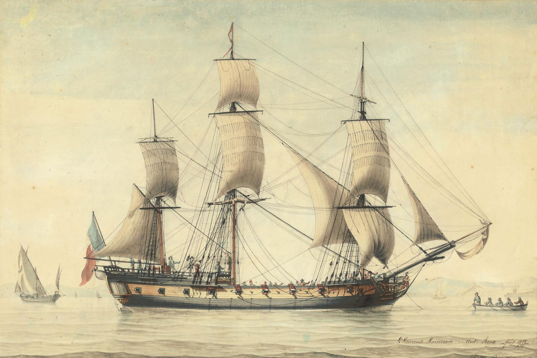 The French frigate L'Heureuse Harmonie with a tender laying out her anchor off Marseilles