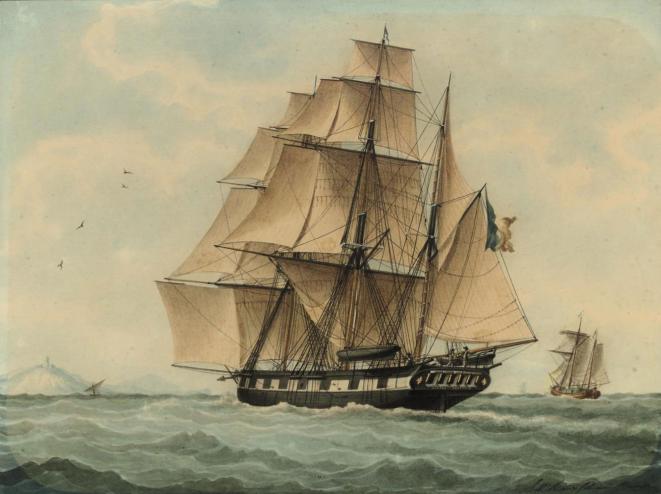 A French barque sailing to windward in the Mediterranean