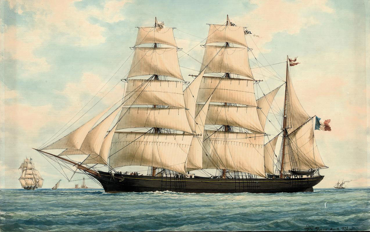 The French barque Splendide in Mediterranean waters off Marseilles