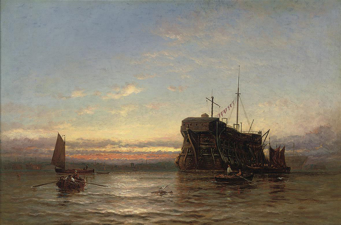 Prison hulks lying in a harbour at sunset