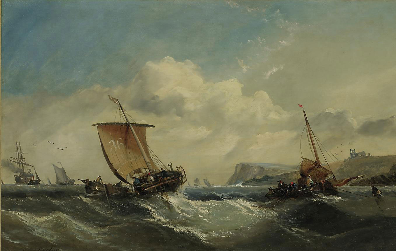 Fishing vessels in a heavy swell off Whitby