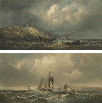 A stiff breeze off the north east coast; and Figures salvaging a beached wreck at low tide, Whitby (both illustrated)