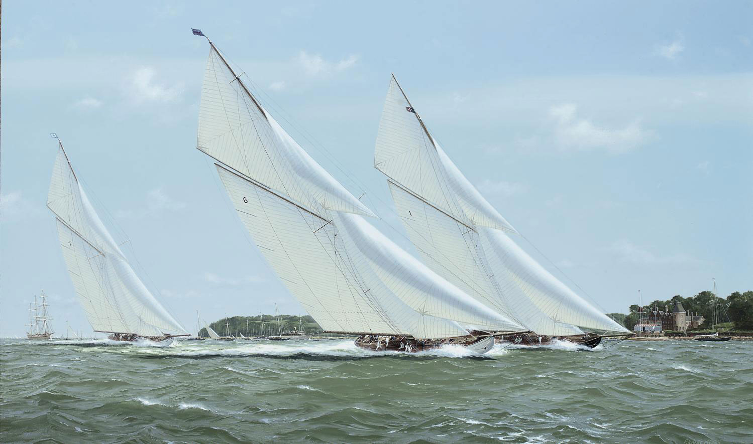 Britannia and Lulworth powering to windward off the Royal Yacht Squadron, Cowes, with White Heather (II) trailing behind