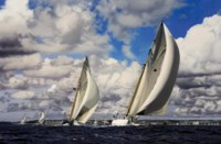 The Pendennis Cup, 2008: Mariquita leading the fleet towards the turning mark, with Mariette chasing her down and Altair, The Lady Anne, Kelpie and Adix trailing behind