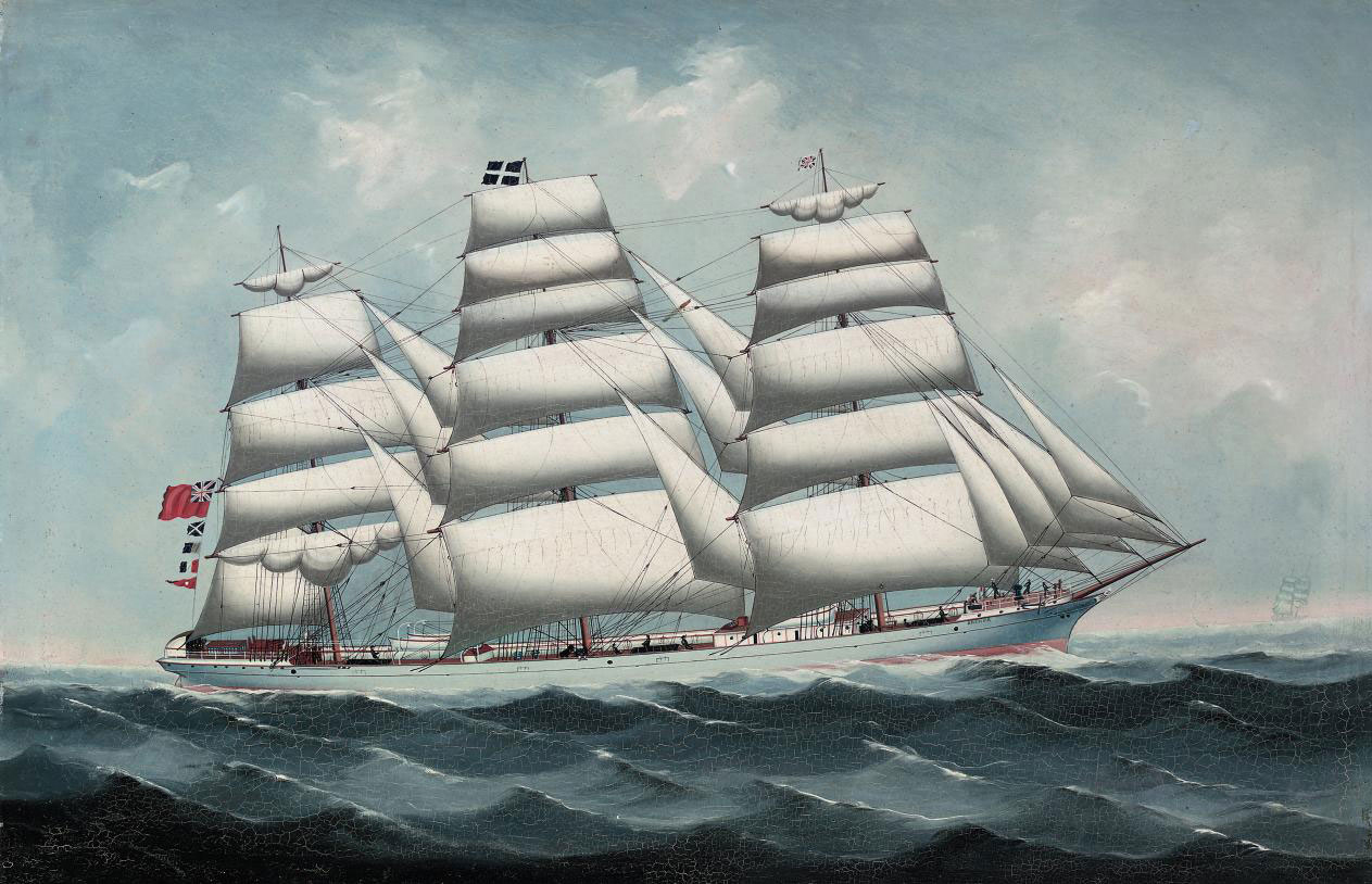 The British steel full-rigger Brenda in full sail