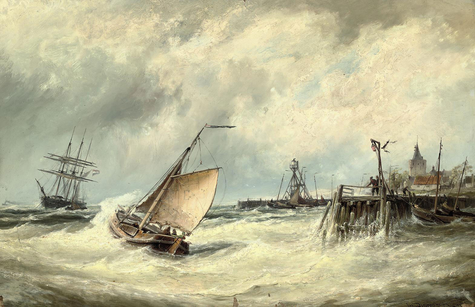 Rough weather on the Zuider Zee before Elburg, Holland