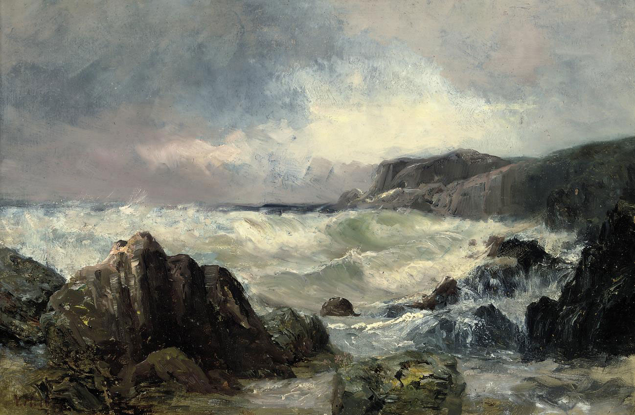 Waves crashing on a rocky coastline