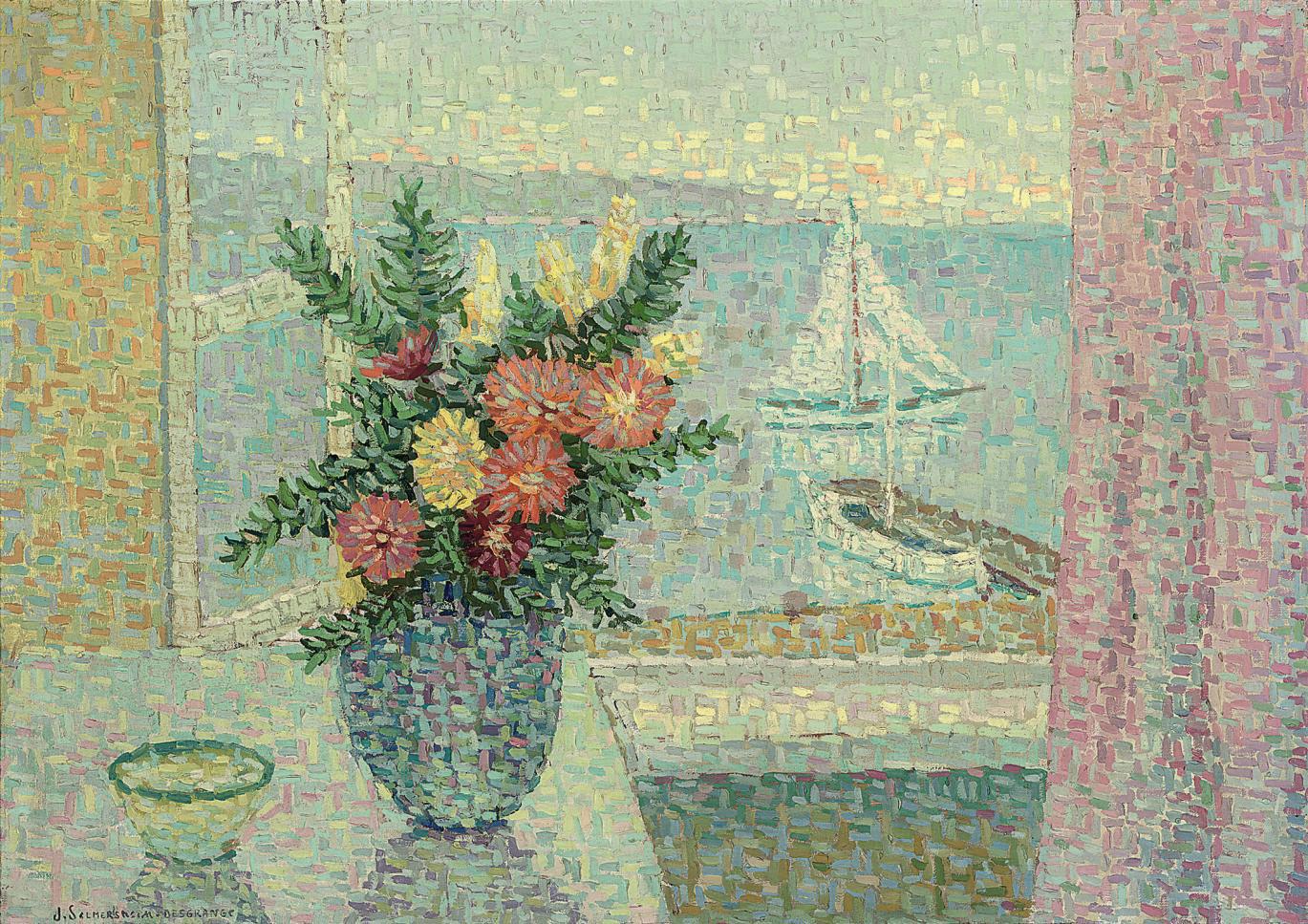 Bouquet devant la fenêtre