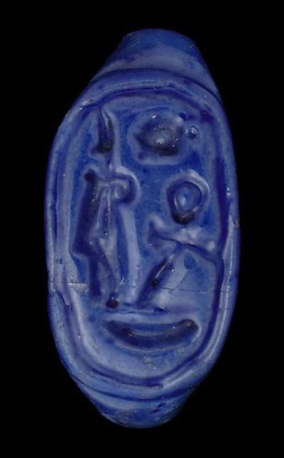 AN EGYPTIAN COBALT BLUE GLAZED