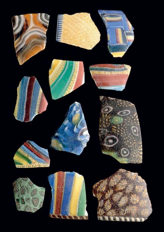 TWELVE ROMAN POLYCHROME GLASS