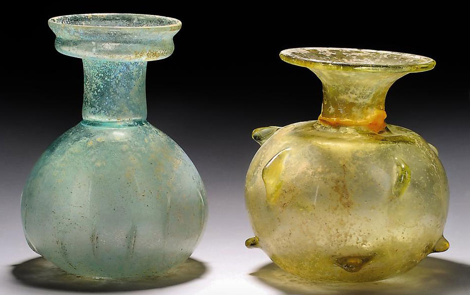 TWO ROMAN GLASS SPRINKLER FLAS