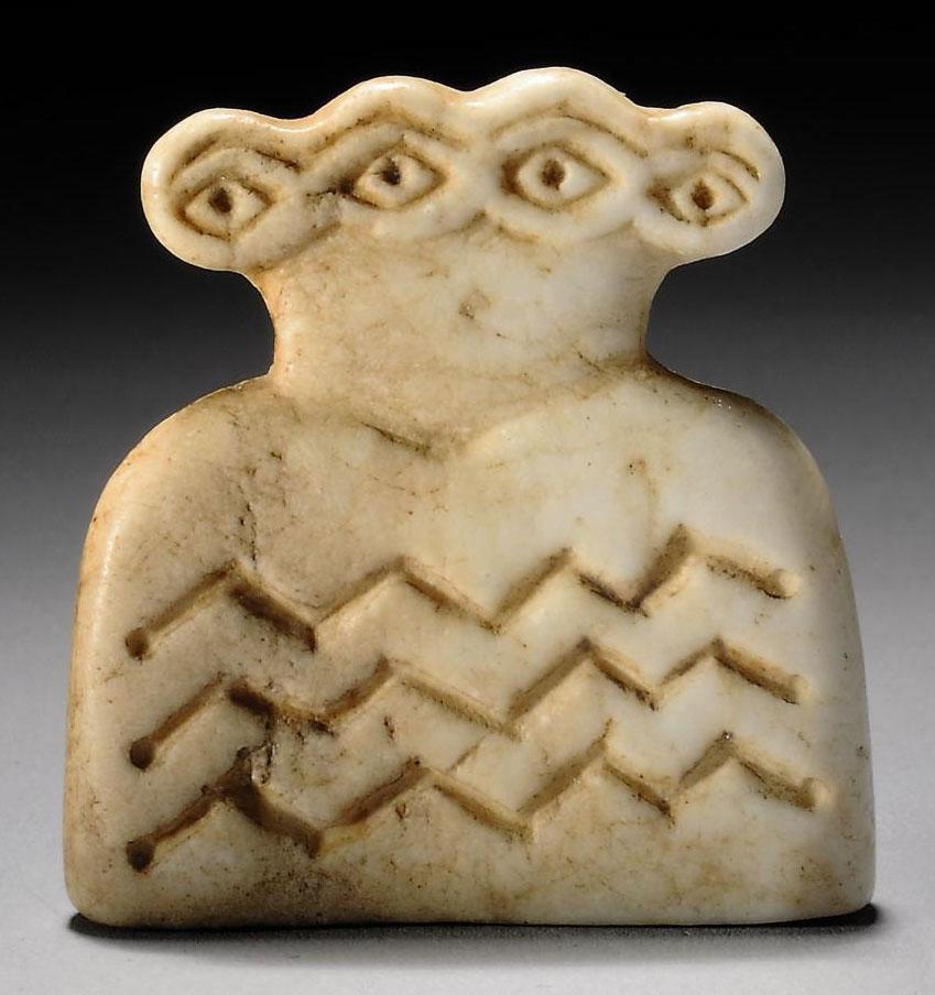 A Syrian Marble Double Eye Idol Tell Brak Circa 4th