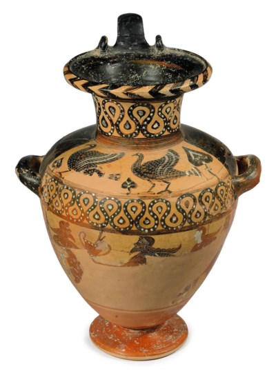 AN ETRUSCAN BLACK-FIGURED HYDR