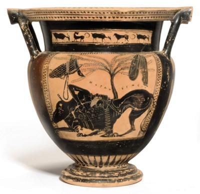A GREEK BLACK-FIGURED COLUMN-K