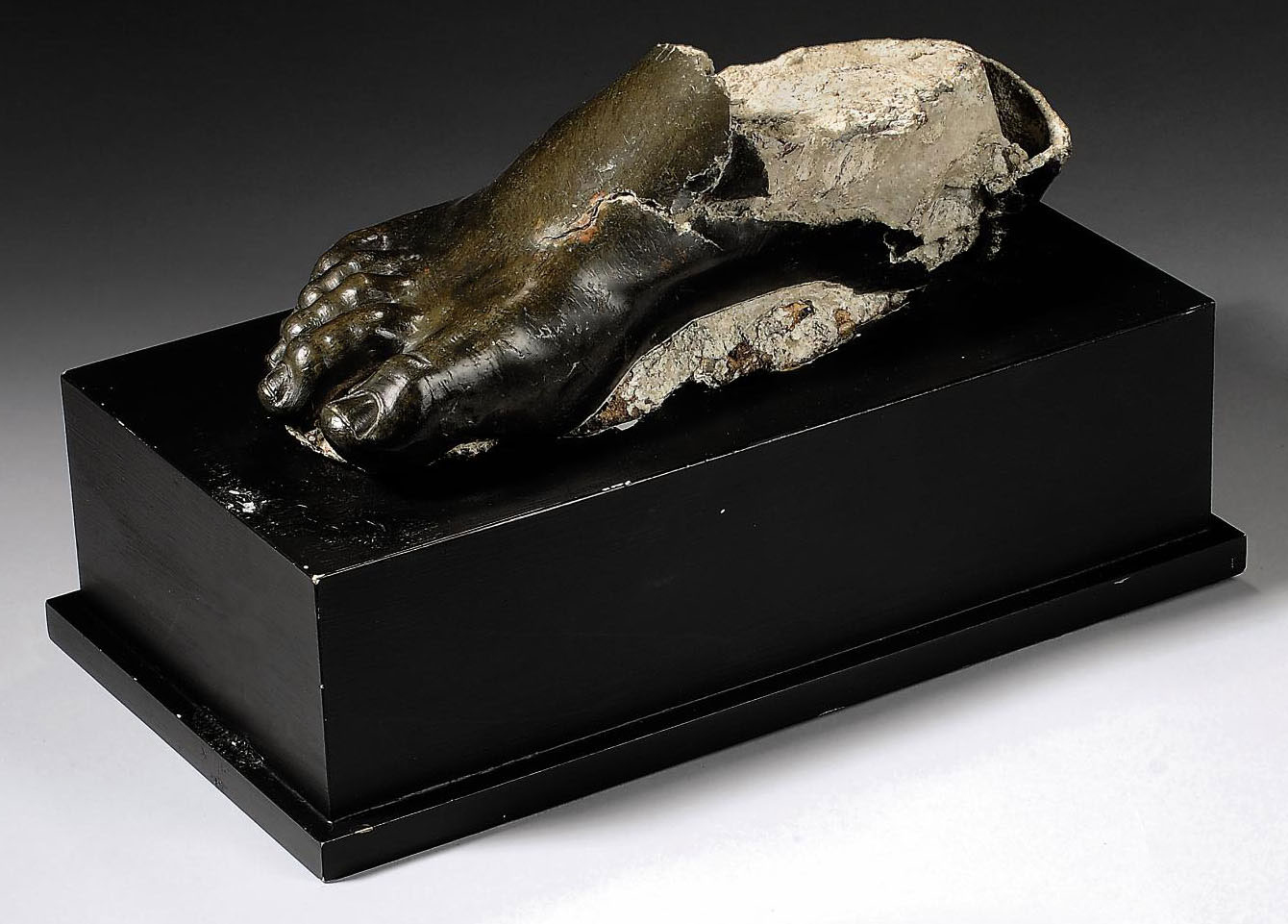 A ROMAN BRONZE RIGHT FOOT