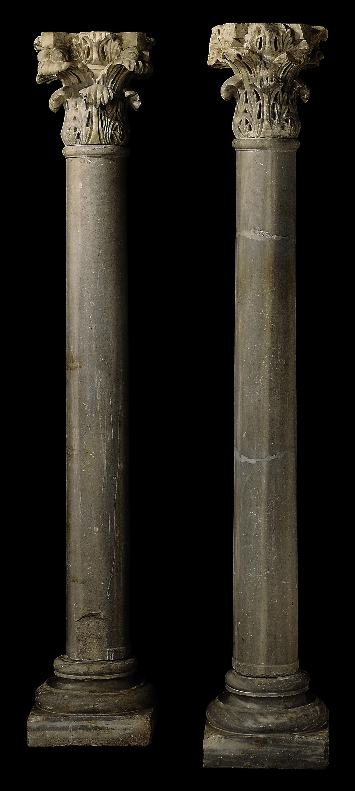 A PAIR OF BYZANTINE MARBLE COL