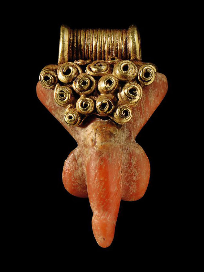 A GRAECO-ROMAN GOLD AND CORAL PHALLIC PENDANT