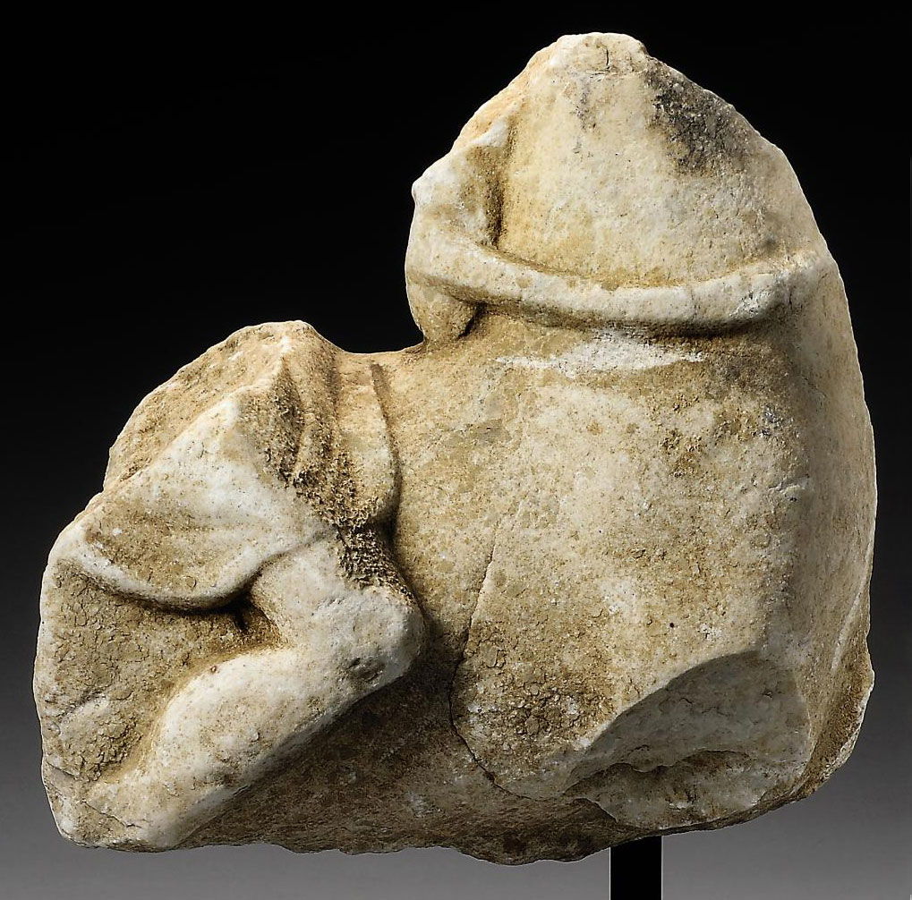 A GREEK MARBLE FRAGMENT OF A H