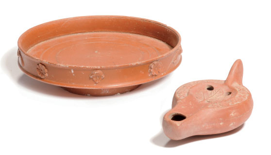 A ROMAN RED-WARE FOOTED DISH